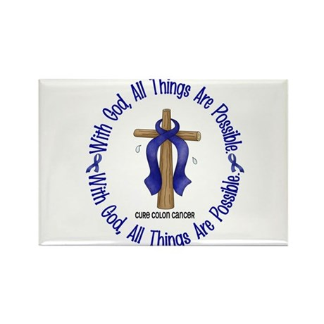 With God Cross COLON CANCER Rectangle Magnet