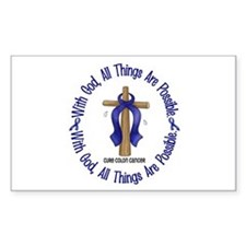 With God Cross COLON CANCER Rectangle Decal