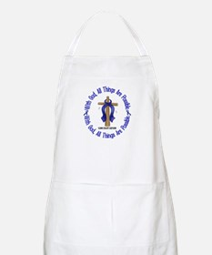 With God Cross COLON CANCER BBQ Apron