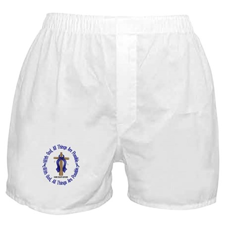 With God Cross COLON CANCER Boxer Shorts