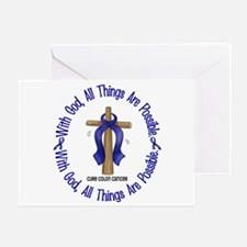 With God Cross COLON CANCER Greeting Card