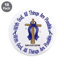 """With God Cross COLON CANCER 3.5"""" Button (10 pack)"""
