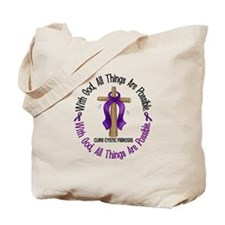 With God Cross Cystic Fibrosis Tote Bag