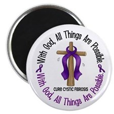 "With God Cross Cystic Fibrosis 2.25"" Magnet (10 pa"