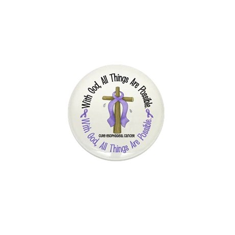 With God Cross Esophageal Cancer Mini Button (10 p