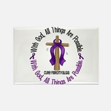 With God Cross Fibromyalgia Rectangle Magnet