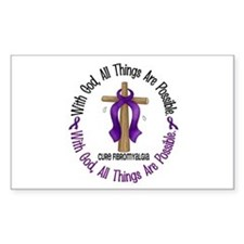 With God Cross Fibromyalgia Rectangle Decal