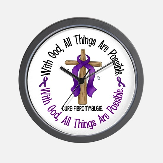 With God Cross Fibromyalgia Wall Clock