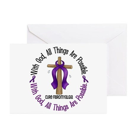 With God Cross Fibromyalgia Greeting Cards (Pk of
