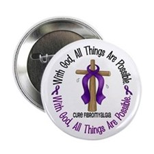 "With God Cross Fibromyalgia 2.25"" Button (10 pack)"