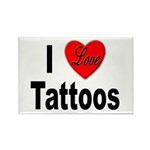I Love Tattoos Rectangle Magnet (10 pack)