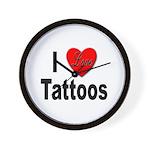 I Love Tattoos Wall Clock