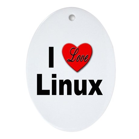 I Love Linux Oval Ornament