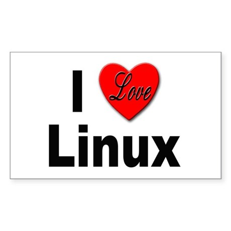 I Love Linux Rectangle Sticker
