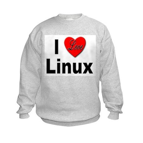 I Love Linux (Front) Kids Sweatshirt
