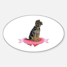 German Shepherd Valentine Oval Decal