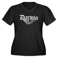 Darwin Women's Plus Size V-Neck Dark T-Shirt