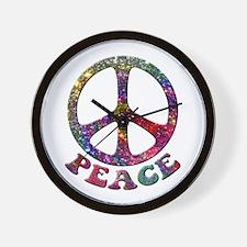Jewelled Peace Symbol Wall Clock