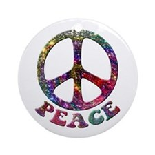 Jewelled Peace Symbol Ornament (Round)