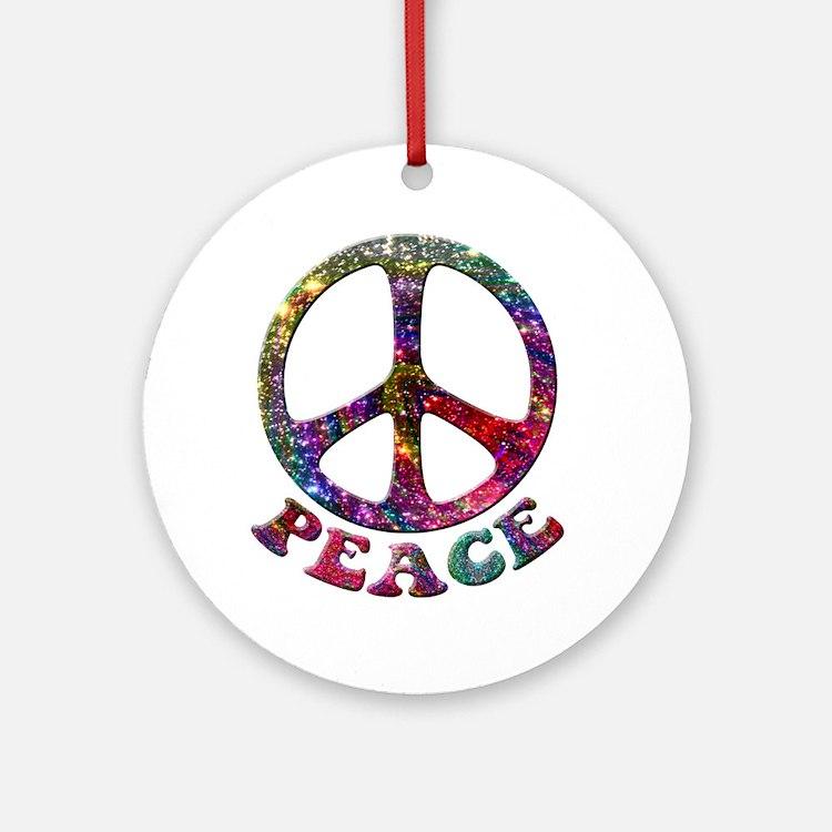 Jewelled Peace Symbol Ornament (Round)