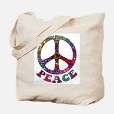 Jewelled Peace Symbol Tote Bag