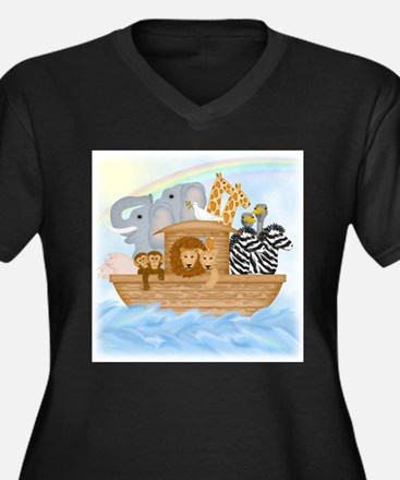 Noah's Ark Women's V-Neck Dark Plus Size T-Shirt