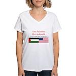USA Support Palestine Women's V-Neck T-Shirt