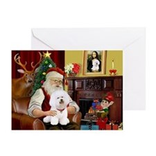 Santa's Bichon Frise Greeting Cards (Pk of 10)