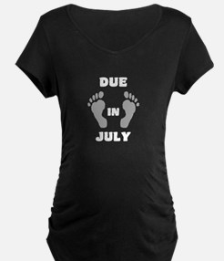 Due In July (black&white/top) Maternity T-Shir