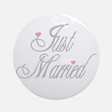 Classy Grays Just Married Ornament (Round)