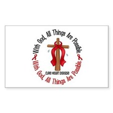 With God Cross HEART DISEASE Rectangle Decal