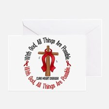 With God Cross HEART DISEASE Greeting Card
