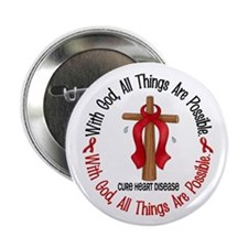"""With God Cross HEART DISEASE 2.25"""" Button (10 pack"""