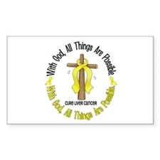 With God Cross LIVER CANCER Rectangle Decal