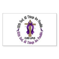 With God Cross LUPUS Rectangle Decal