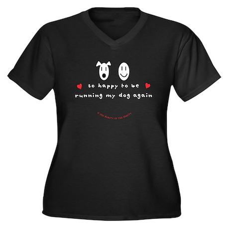 So Happy Women's Plus Size V-Neck Dark T-Shirt