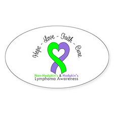 Lymphoma LimeViolet Oval Sticker (10 pk)