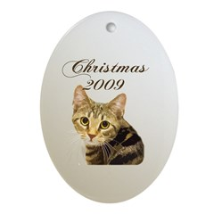 Cat Christmas 2009 Oval Ornament