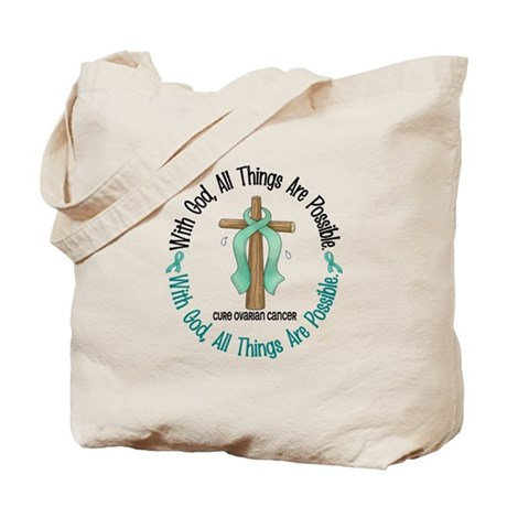 With God Cross OVARIAN CANCER Tote Bag