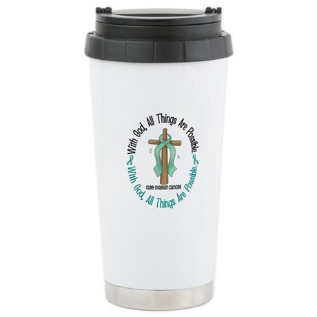 With God Cross OVARIAN CANCER Stainless Steel Trav