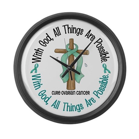With God Cross OVARIAN CANCER Large Wall Clock
