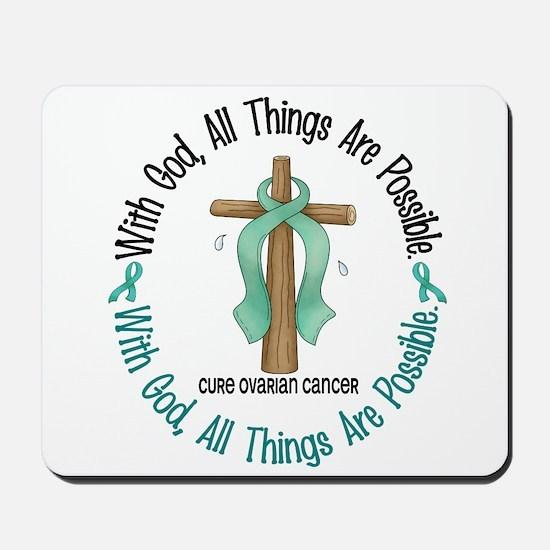With God Cross OVARIAN CANCER Mousepad