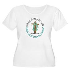 With God Cross OVARIAN CANCER T-Shirt
