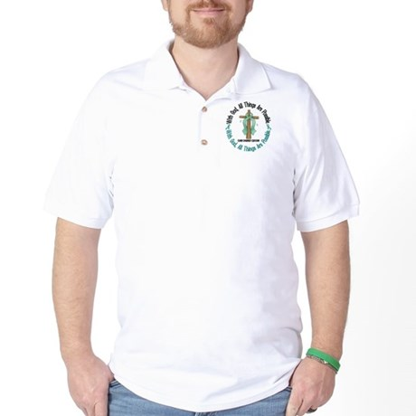 With God Cross OVARIAN CANCER Golf Shirt