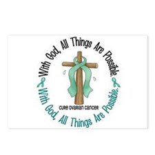 With God Cross OVARIAN CANCER Postcards (Package o