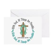 With God Cross OVARIAN CANCER Greeting Card
