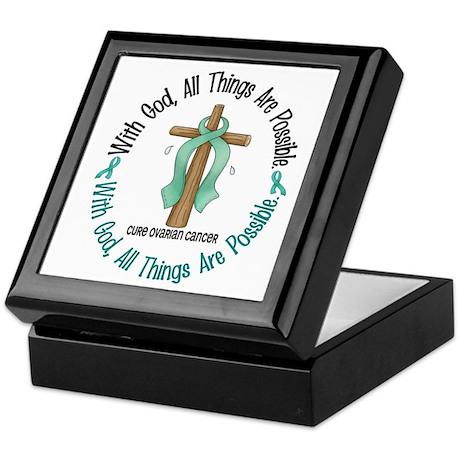 With God Cross OVARIAN CANCER Keepsake Box