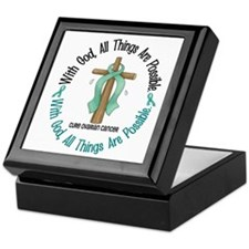 With God Cross OVARIAN CANCER Keepsake Box