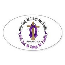 With God Cross PANCANC Oval Decal