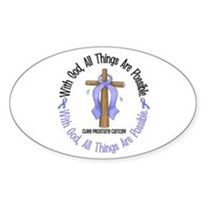 With God Cross PROSCANC Oval Decal